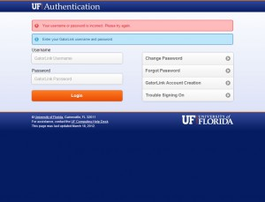 UF Authentication GatorLink Login