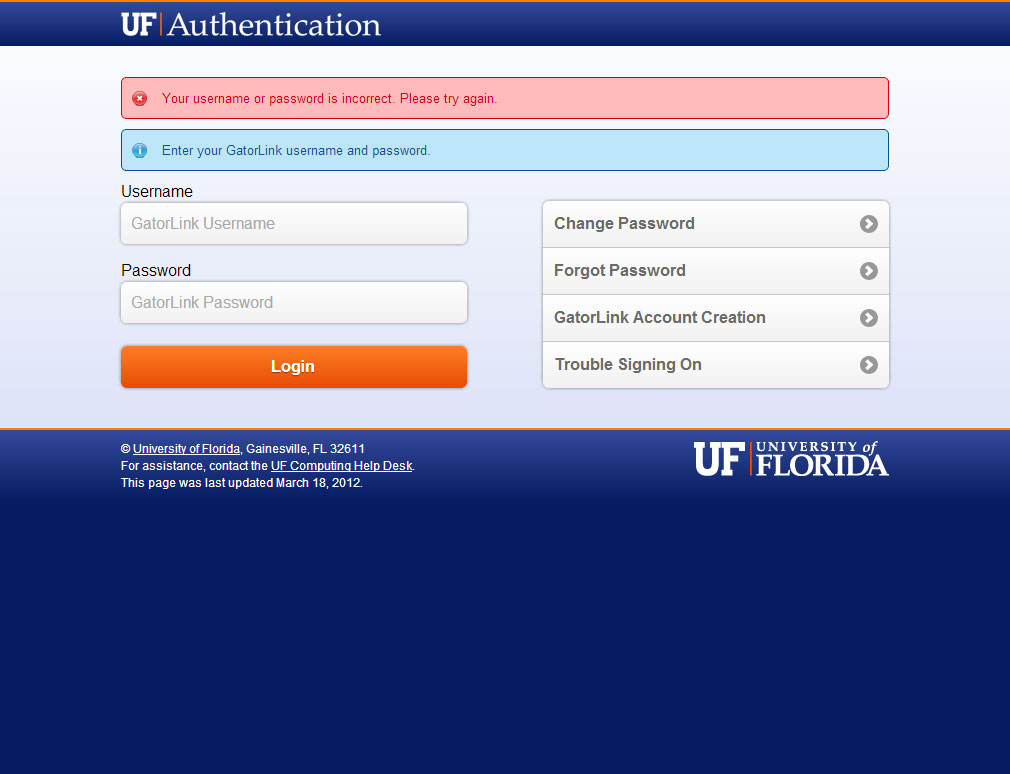 Example Login Screens » Identity Services » University of